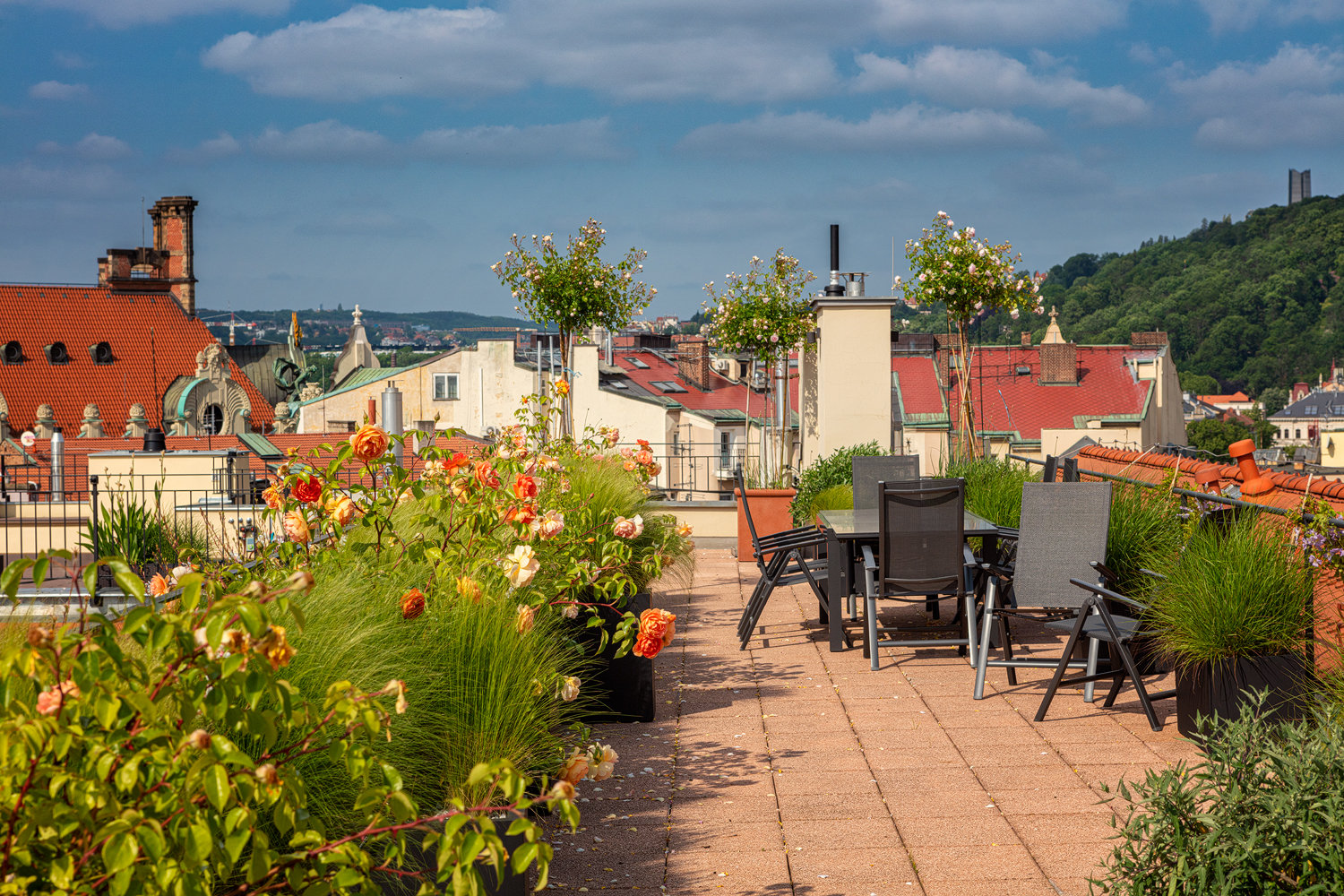 Blooming terrace in the center of Prague